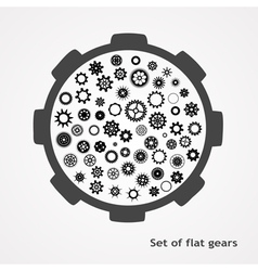 a set of gears in flet style vector image