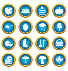Autumn icons blue circle set vector
