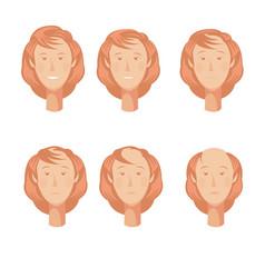 Balding woman heads set vector