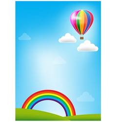 Balloon and rainbow on blue sky background vector image vector image
