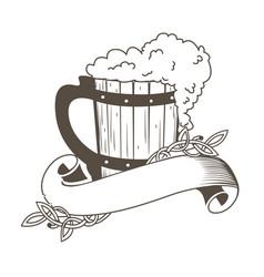 Beer mug with vintage ribbon free vector