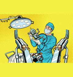 Birth newborn robot an obstetrician in the vector