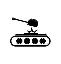 Black icon on white background tank explosion vector