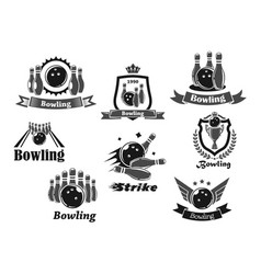 Bowling game sport club icon with ball ninepins vector