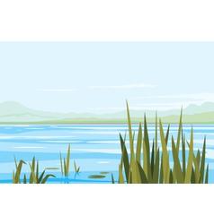 Bulrush Plants River Landscape vector image