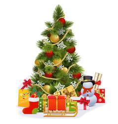 christmas tree with sledge vector image