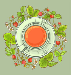Cup of strawberry tea vector