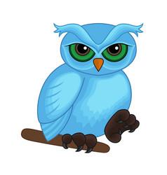 Cute cartoon blue owl on a branch vector