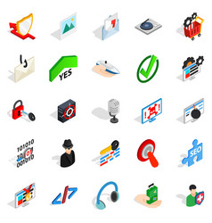 Data theft icons set isometric style vector