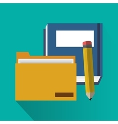 File book and pencil of office and work design vector