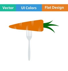 Flat design icon of diet carrot on fork vector
