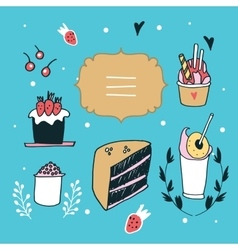 Hand drawn design element set delicious food vector image vector image