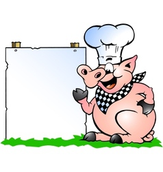 Hand-drawn of an chef pig standing and pointing vector