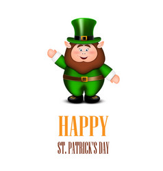 Happy leprechaun waving hand saint patricks day vector