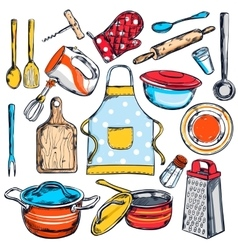 Home cooking elements set vector