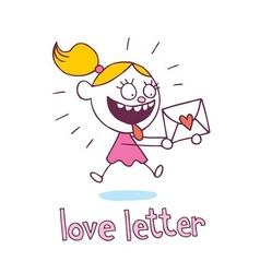 love letter little girl in love vector image vector image