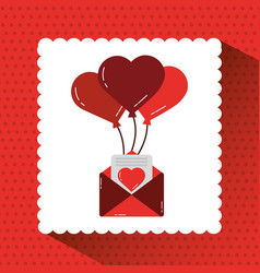 mail message envelope with bunch balloons hearts vector image