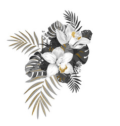 Monochrome composition with exotic plants two vector
