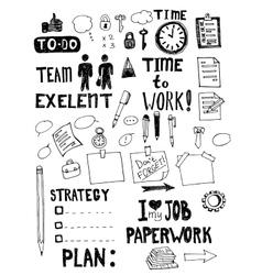 Office work doodles vector