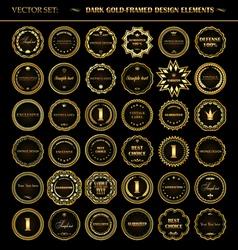 Set of dark gold-framed design elements vector image vector image