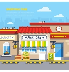 Street Shops Flat Design Concept vector image vector image