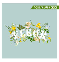Summer and spring field flowers graphic design vector