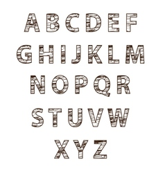 Textured tree font vector image vector image