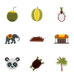 Tourism in thailand icons set flat style vector