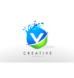v letter logo blue green splash design vector image vector image