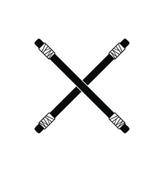 Wooden sword bokken black simple icon vector