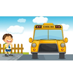 school bus and boy vector image