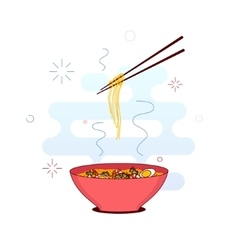 Bowl of noodles vector