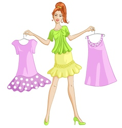 Girl choosing or showing a dress to wear vector