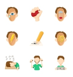 Emotions icons set cartoon style vector