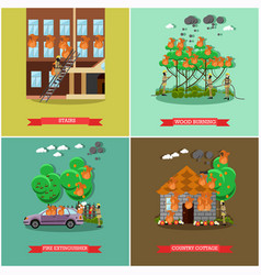 Set of fireman posters in flat style vector
