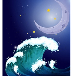 A strong wave under the moon vector