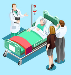 Doctor talking with old patient family isometric vector