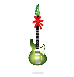 A beautiful green electric guitar with red ribbon vector