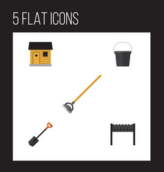 Flat icon farm set of barbecue spade tool and vector