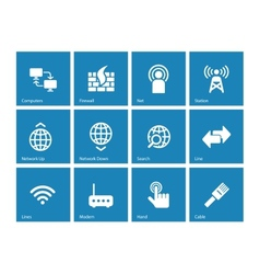 Networking icons on blue background vector