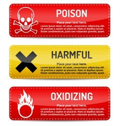 Poison harmful oxidizing - danger sign set vector