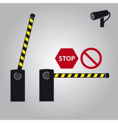 Barrier with cam and signs eps10 vector