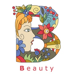 Letter b beauty vector