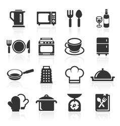 Kitchen and cooking icons white vector