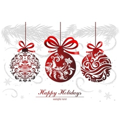 Greeting card with christmas balls vector