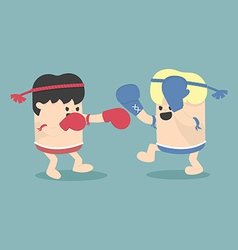 Thai boxing cartoon vector