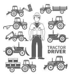 Tractor Driver Icons vector image