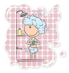 Girl in the shower vector