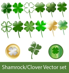 4 leaf clover or shamrock set vector