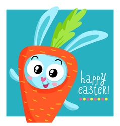 Easter greeting card template with bunny in carrot vector
